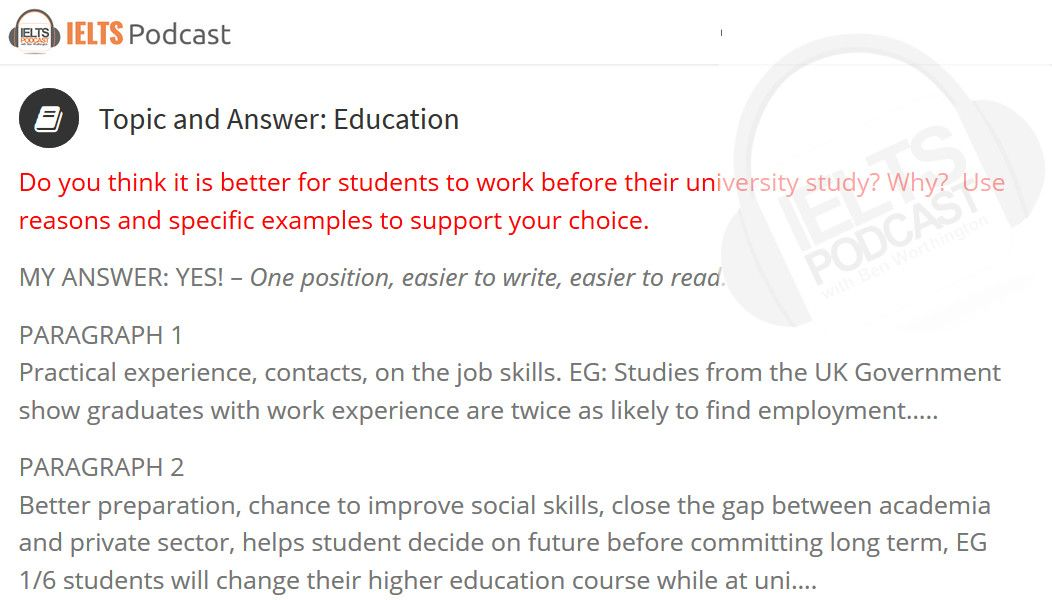 ielts essay topics with answers