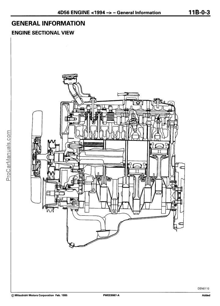 Mitsubishi 4D56 Diesel Engine Service Manual 1994