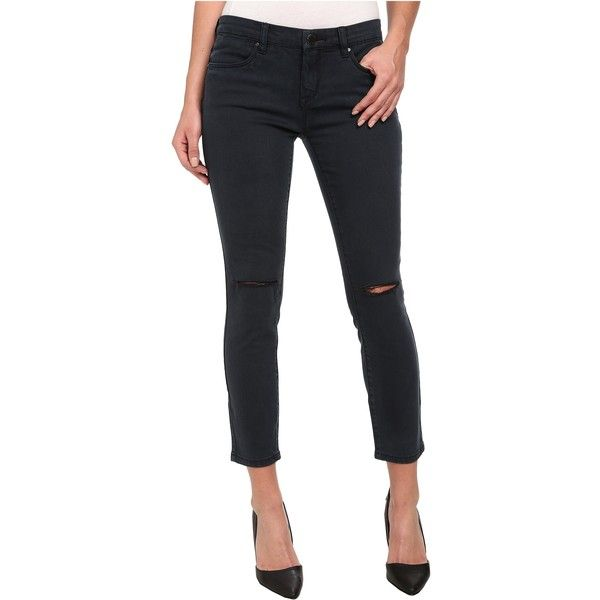 Blank NYC Navy Crop Skinny With Rips On Knees in Cruisin For Bruisin... ($31) ❤ liked on Polyvore featuring jeans, blue, destroyed black skinny jeans, faded skinny jeans, blue skinny jeans, destroyed skinny jeans and distressed skinny jeans