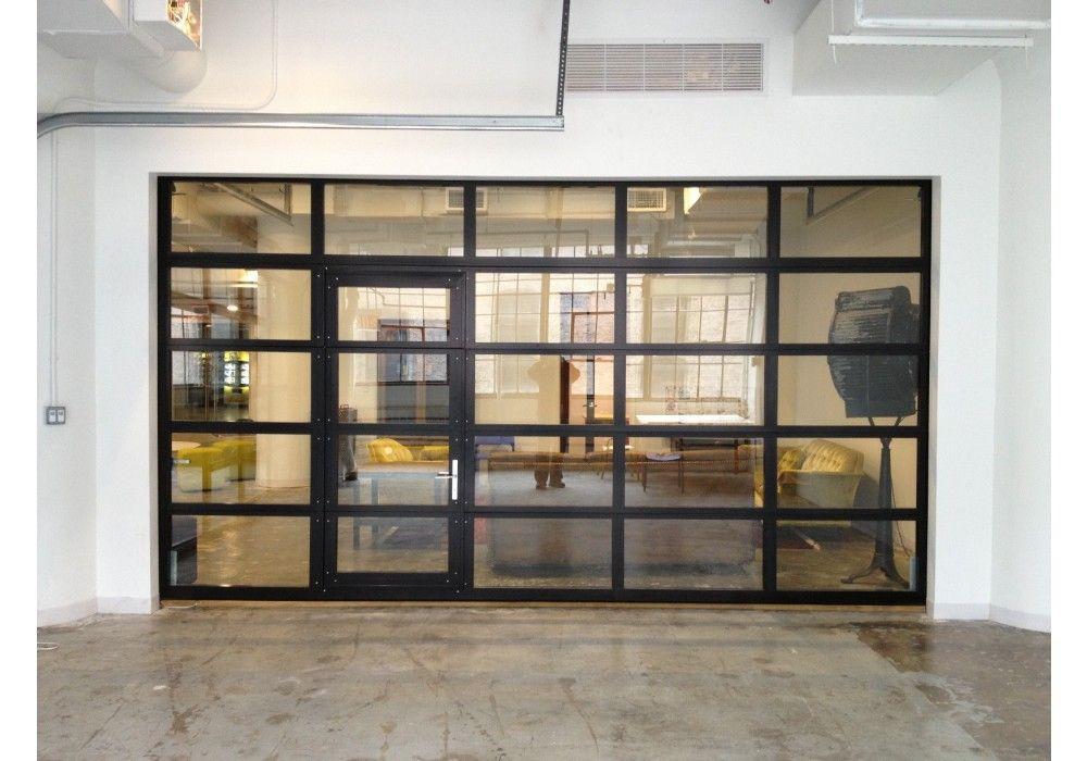 Glasspassingdoor full view aluminum glass garage door for Garage man door