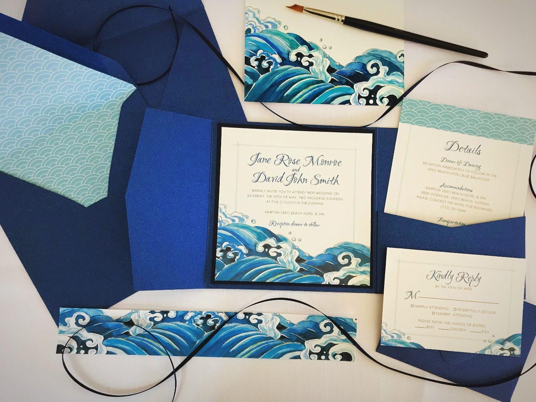 Watercolor Japanese Style Wedding Invitation | Wedding Invitations ...