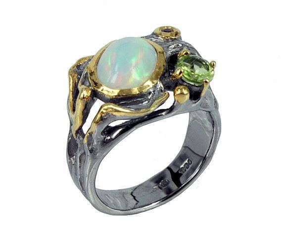 Opal Ring, Statement Ethiopian Opal Ring, October Birthstone Ring, Opal Jewelry, Wedding Ring, Statement Ring, October Birthstone, Boho Chic by ZoominJewels on Etsy https://www.etsy.com/listing/292358801/opal-ring-statement-ethiopian-opal-ring