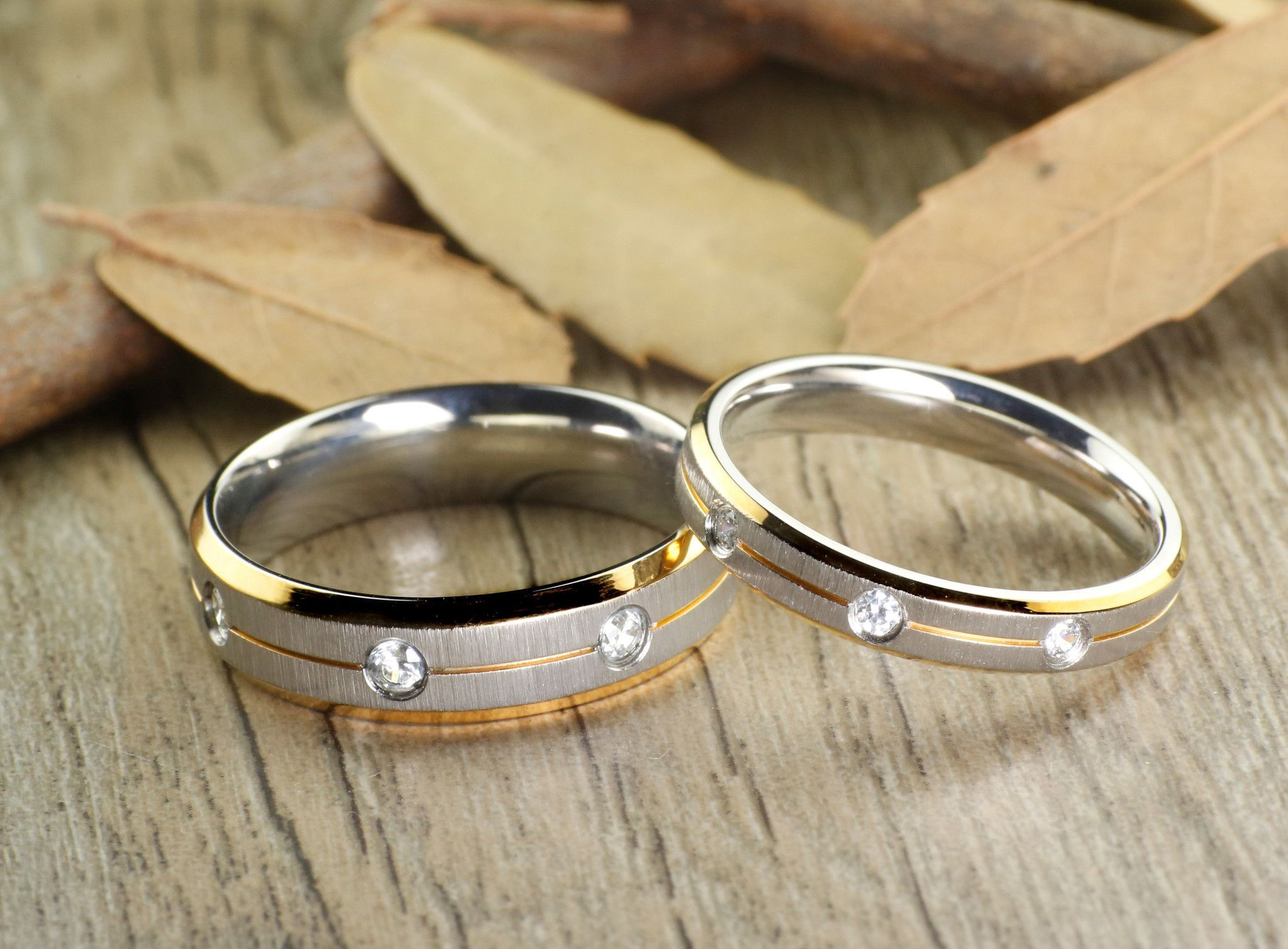His and Her Couple Two Tone Gold & White Gold Matt Diamonds