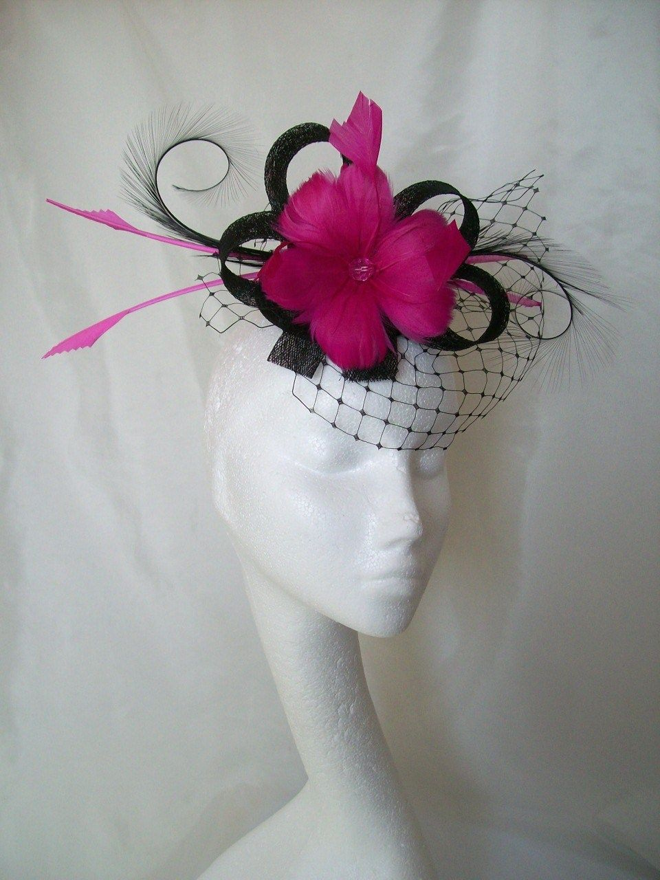 This Gorgeous Cerise Pink Black Fascinator Is A One Off Design Created With