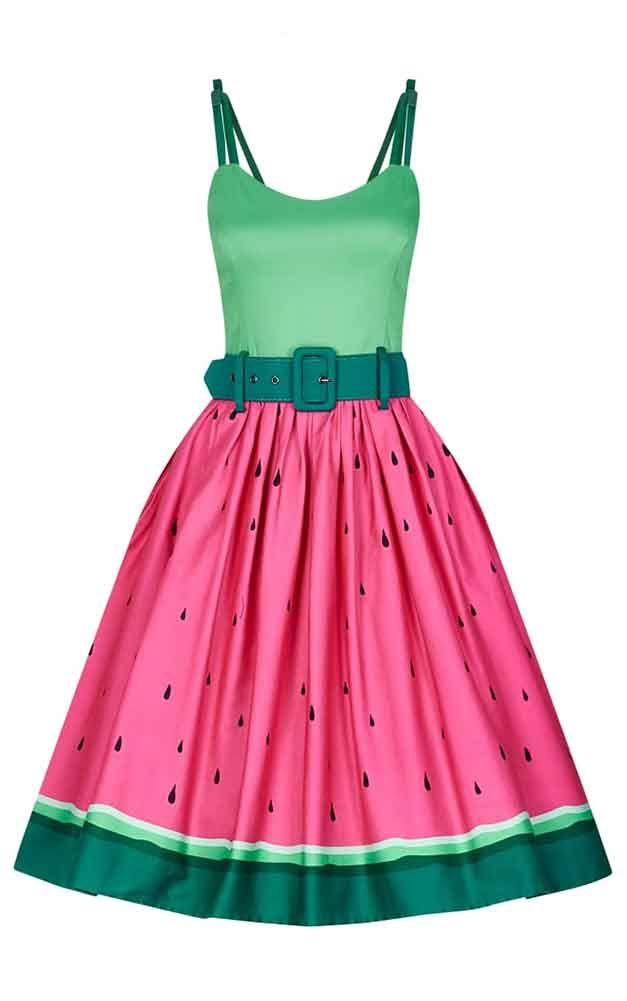 a4e51e8d2be Collectif Plus Size Jade Watermelon Swing Dress Stunning quirky swing dress  from Collectif! The gorgeous plus size vintage inspired Jade dress is  styled ...