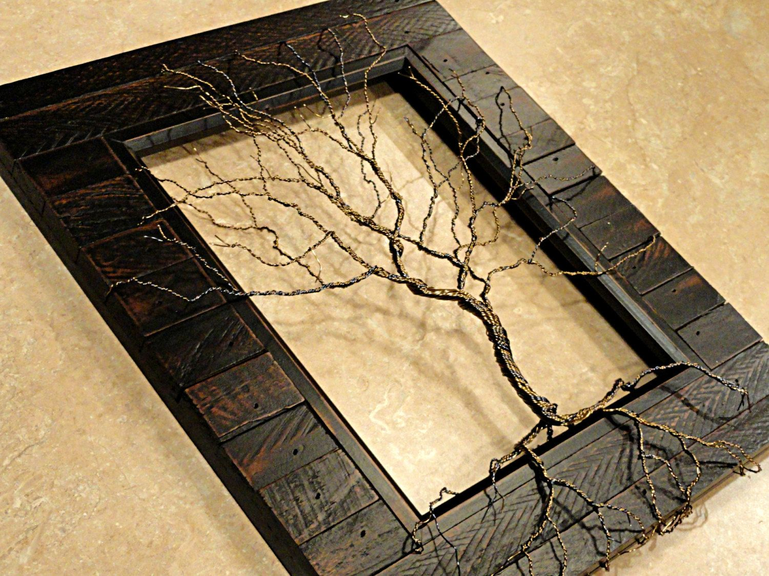 Twisted Wire Tree Sculpture Tree of Life Sculpture Wood Framed Tree ...