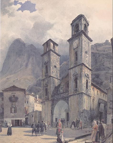 """The Cathedral Square of Cattaro"" - Rudolf Ritter von Alt (1841)"