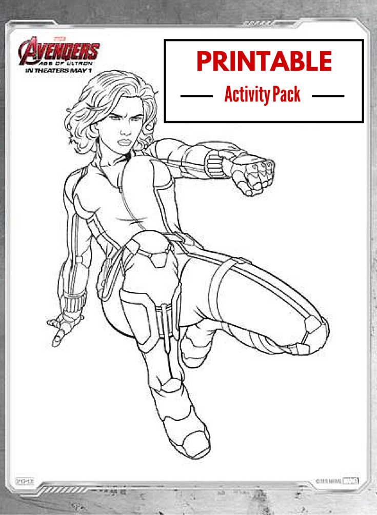 printable activity pack for marvels avengers ageofultron with 15 coloring pages including - Black Widow Marvel Coloring Pages