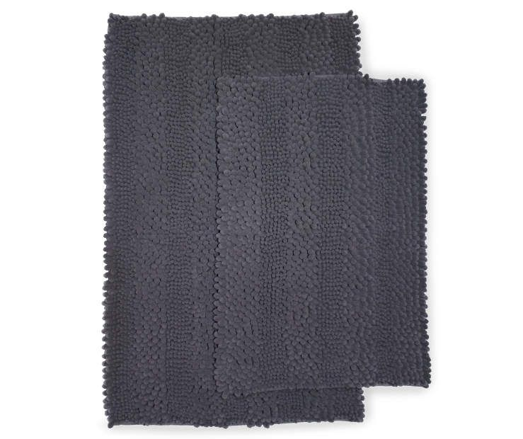 Just Home Gray Chenille Bath Rug Set 2 Pack With Images