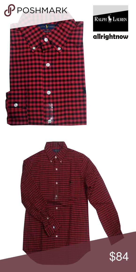 5e29a89b Polo Ralph Lauren Mens NWT Checkered Polo Shirt LS POLO RALPH LAUREN Men's Long  Sleeve Red