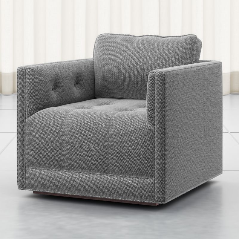 Wylie Grey Tufted Swivel Chair Crate and Barrel in 2020