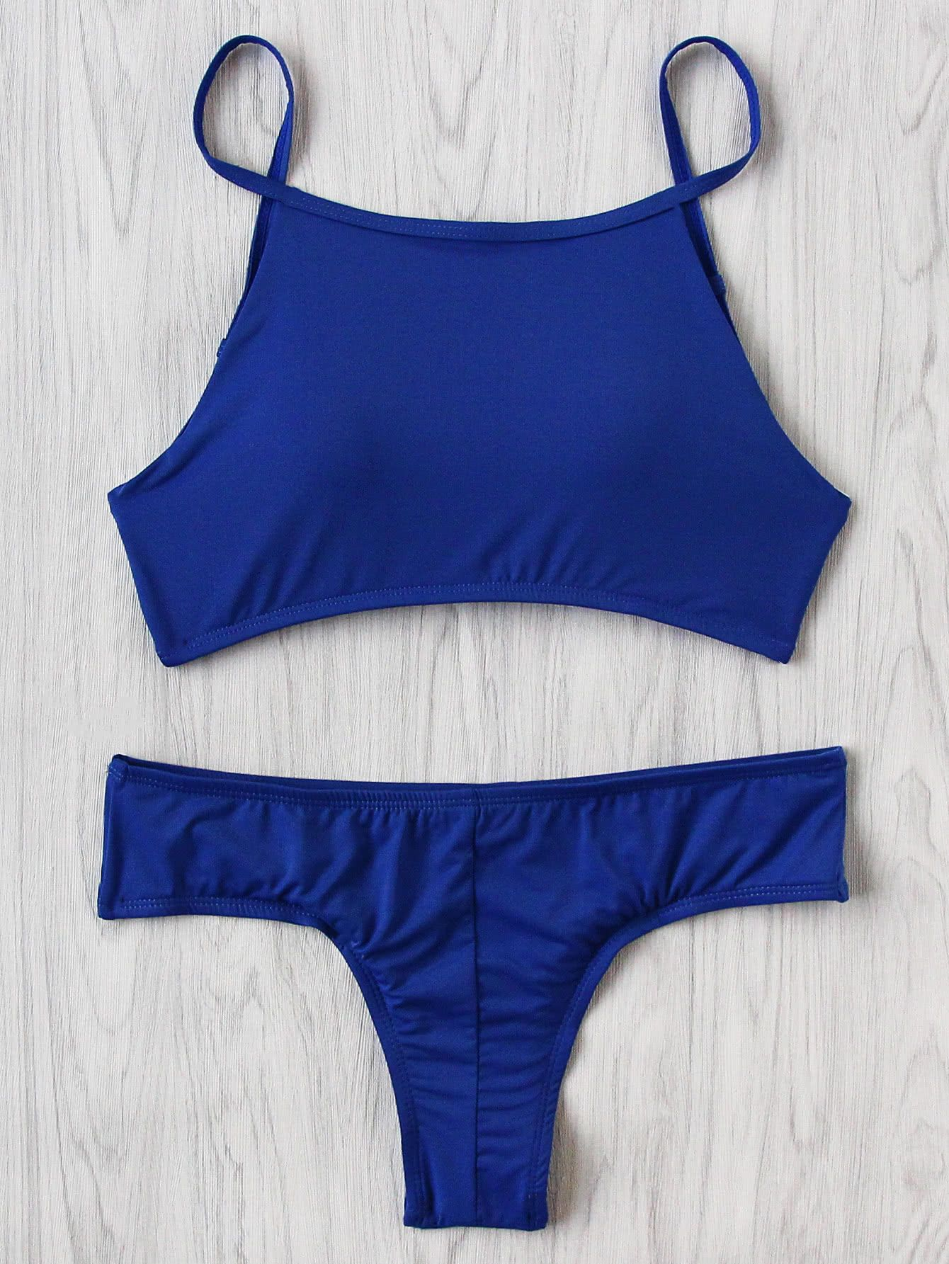 21457fab7 Cómpralo ya!. Strappy Back Bikini Set. Blue Bikinis Vacation Push Up ...