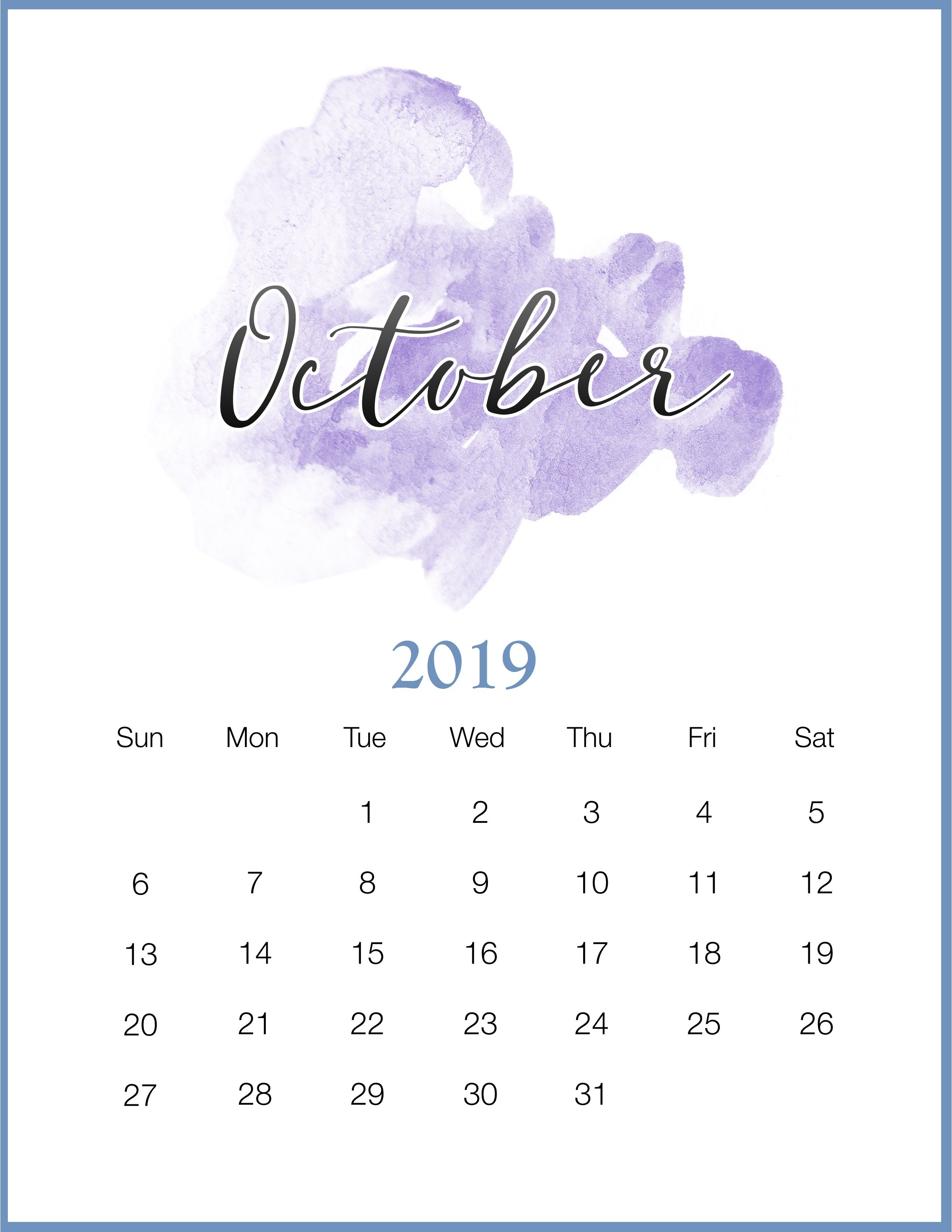 Watercolor 2019 Monthly Printable Calendar Ideias De Calendario