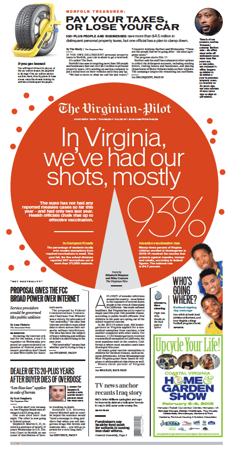 The Virginian-Pilot's front page for Thursday, Feb. 5, 2015.