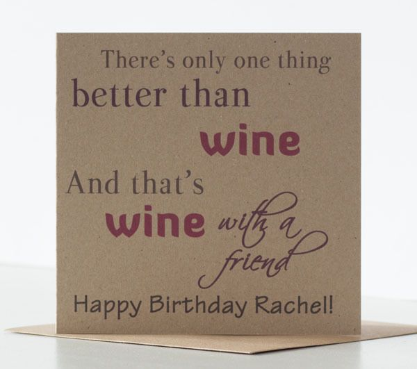 Wine Birthday Card For A Special Best Friend Personalised Rustic