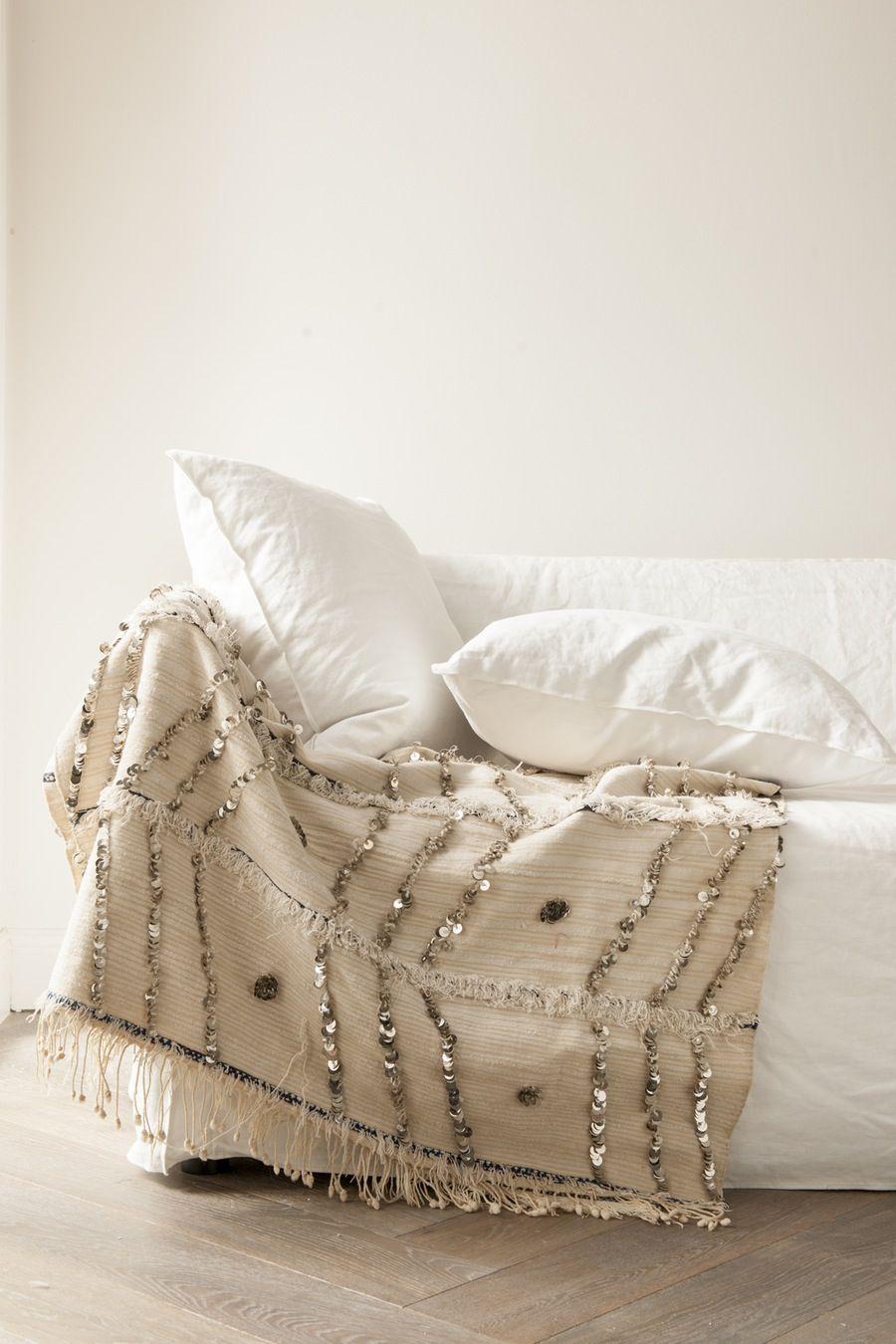 Image of Vintage Moroccan Handira Wedding Blanket, 103 x 185cm