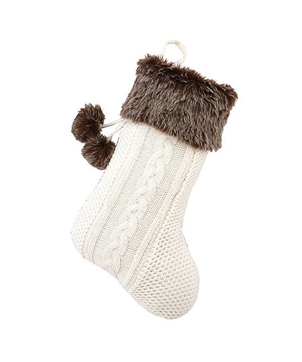 Peking Handicraft Ivory & Brown Faux Fur Pom-Pom Stocking
