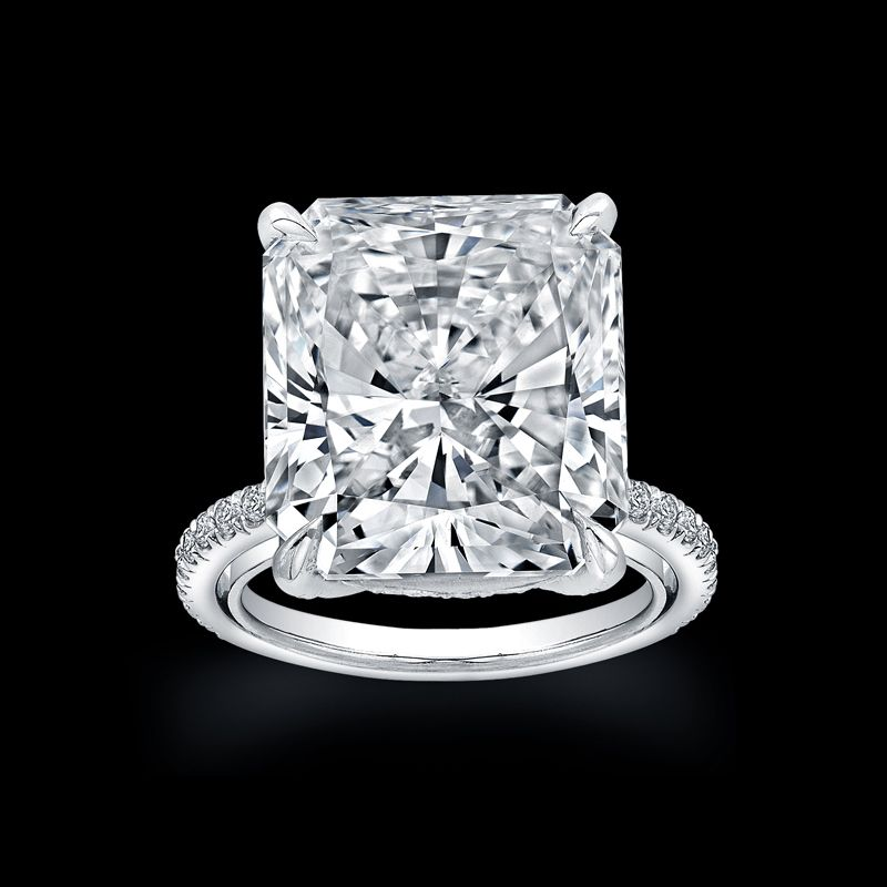 Radiant Cut Diamond set in a Pavé Platinum Engagement Ring available at TWO by LONDON!