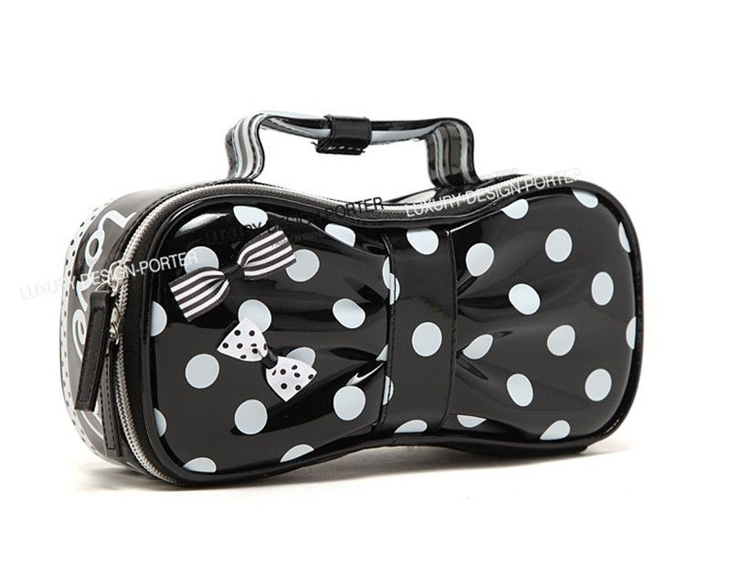 Sweet Designer Polka Dot Bow Shape Cosmetic Bag Waterproof Travel Organizer With Handle Las Toiletry
