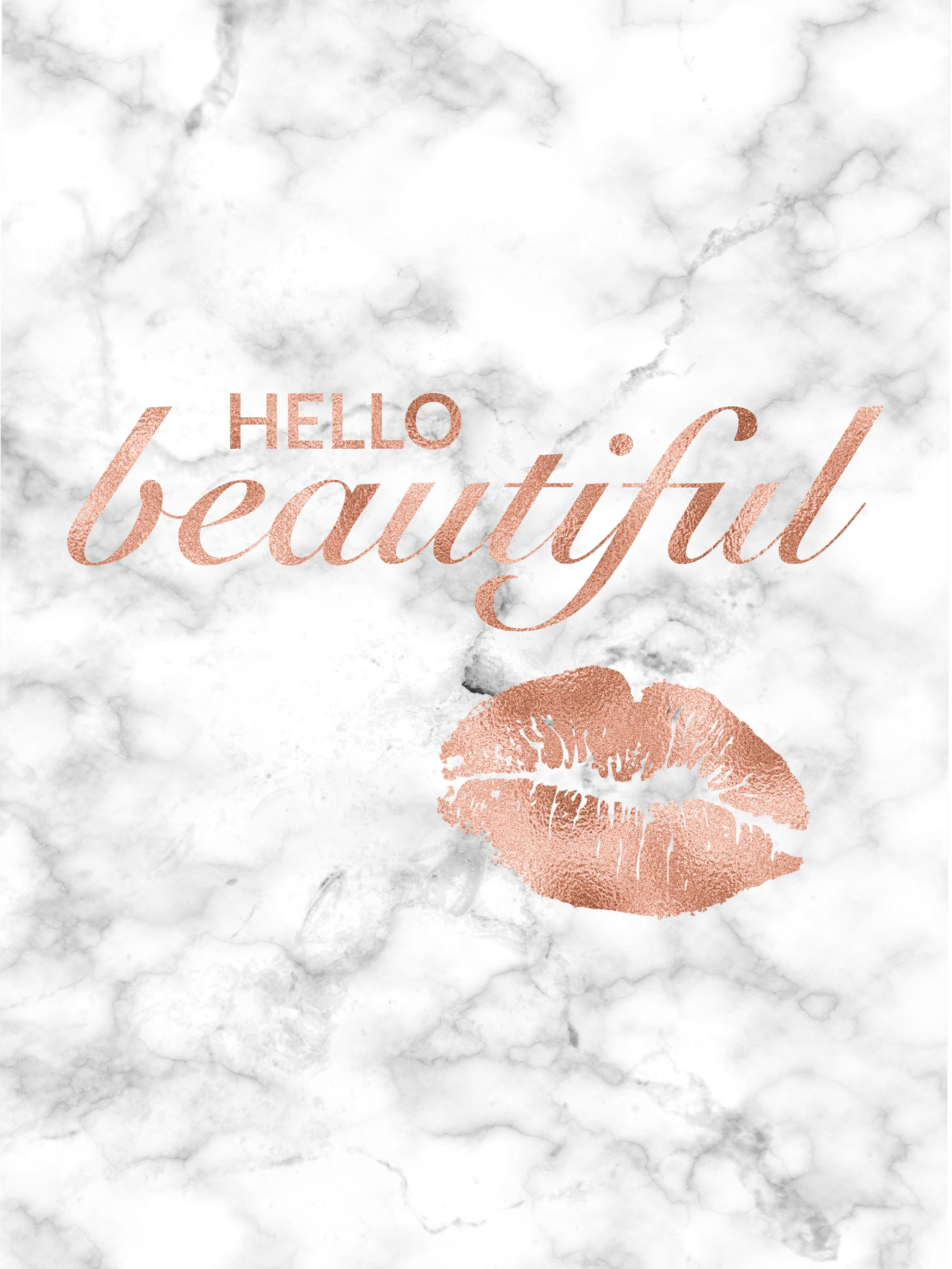Hello Beautiful Rose Gold Decor Lips Print Rose Gold