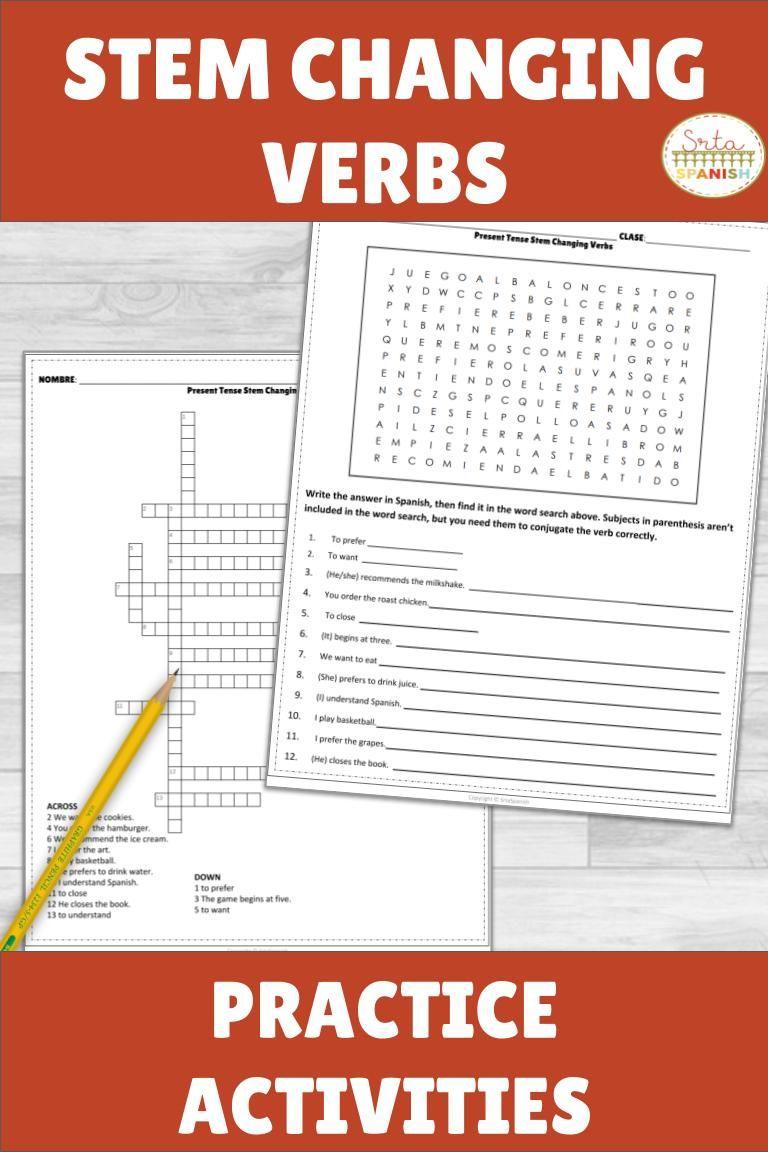 Present Tense Stem Changing Verbs Practice Activities And Worksheets Conjugation Practice Verb Worksheets Business Worksheet [ 1152 x 768 Pixel ]