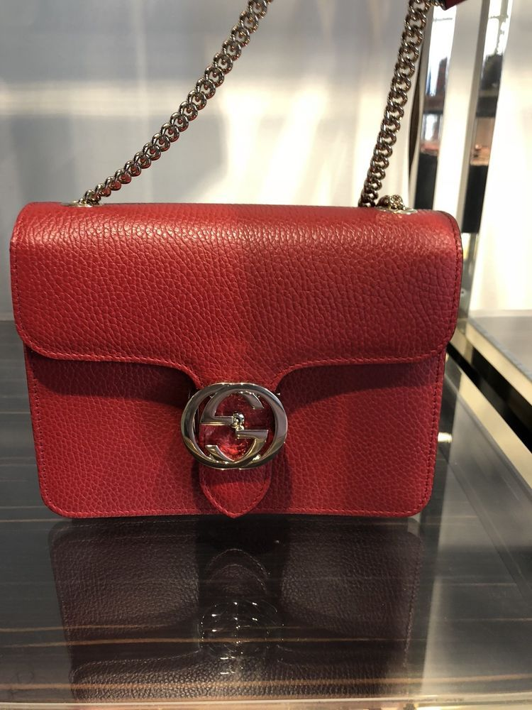 New GUCCI Red Leather Cross Body Bag Chain Interlock GG Classic Beauty   purses  fashion a94261400bffd