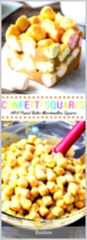 #bonbon - Confetti squares just like grandma made! Also known as peanut butter marshmallow squares - these are no bake, only 4 ingredients, soft, chewy, peanut buttery #confettisquares #bonbon - Confetti squares just like grandma made! Also known as peanut butter marshmallow squares - these are no bake, only 4 ingredients, soft, chewy, peanut buttery #confettisquares