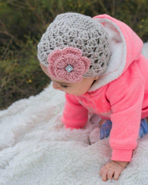8f70aee7bb3 Newborn baby girl hat beanie baby hat pink crochet flower