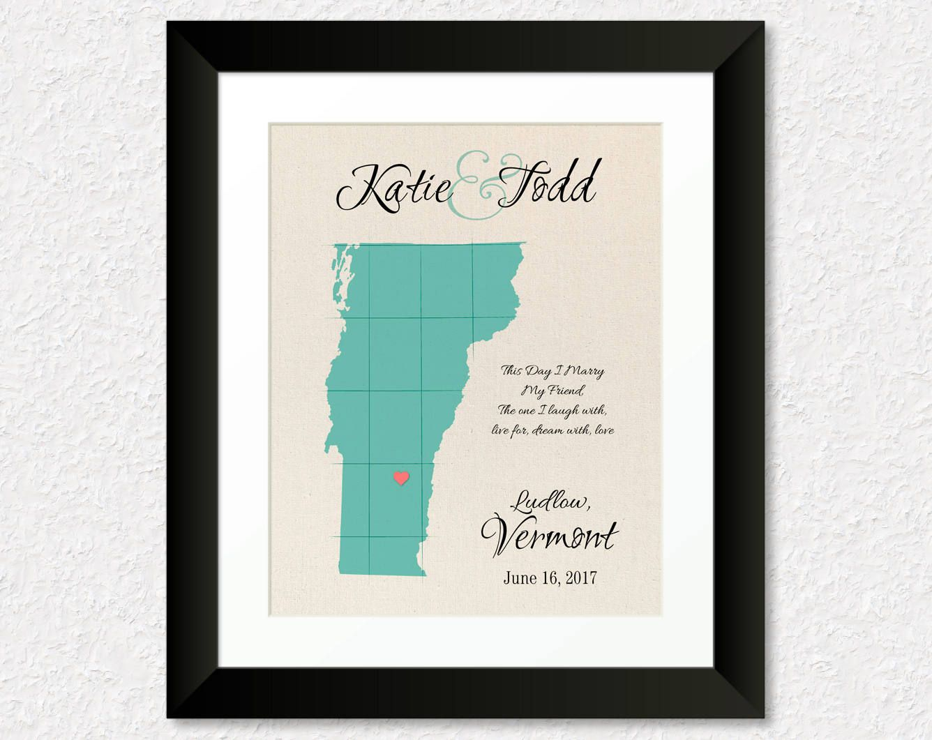 Vermont Wedding Keepsake Map Of Vermont Wedding Guest Book