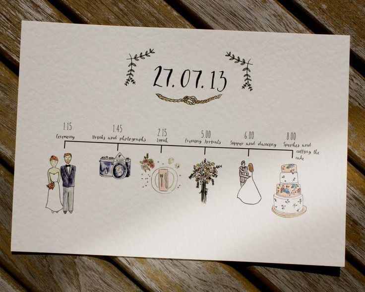 illustrated wedding schedules schedule of the day with watercolour