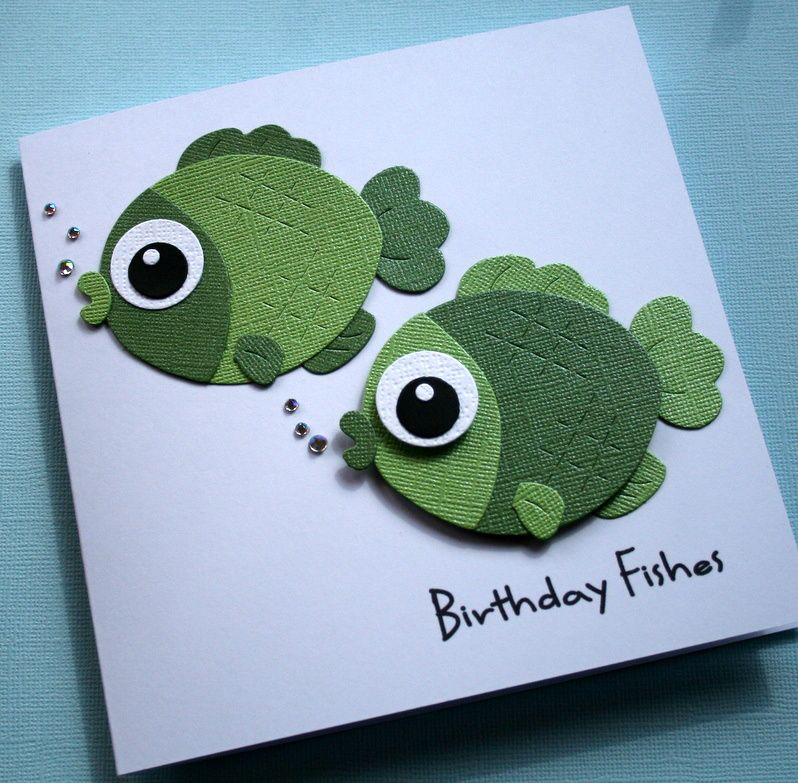 Handmade Birthday Card Adorable Green Punch Art Fish Luv The
