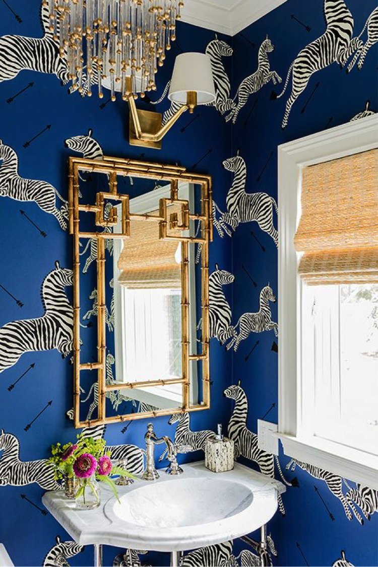 Want To Give Your Powder Room A Quick Makeoverlet Quirky Wallpapers Come WallpaperInterior Design BlogsPreppy