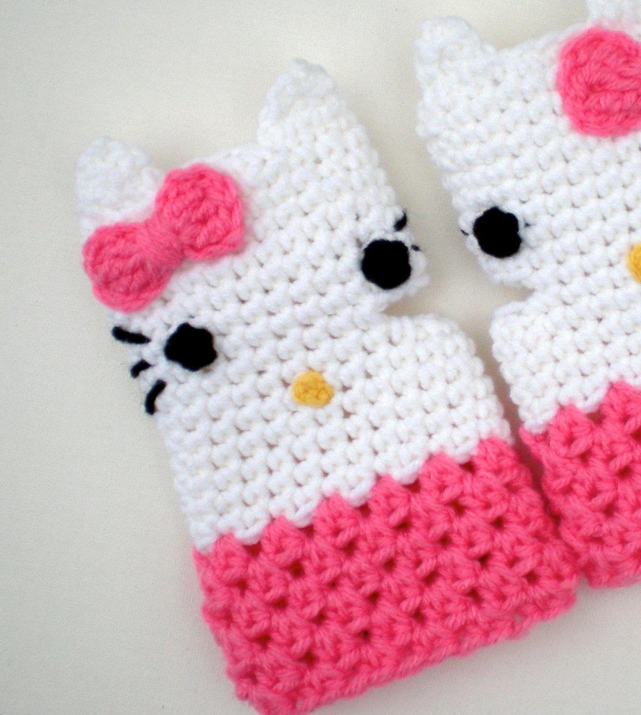 PATTERN: Kitty Gloves, fingerless mitts, toddler, kid, teen, adult ...