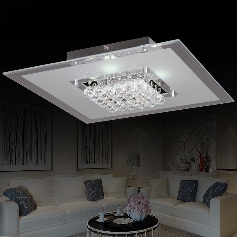 Frisbee Square Led Clear Crystal 9 Light Large Flush Mount Ceiling