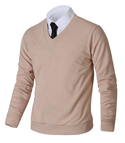 Men's Clothing - HARRISON83 Mens Slim Fit Basic Knitted Longsleeve VNeck Pullover Sweaters -- Visit the image link more details. (This is an Amazon affiliate link)