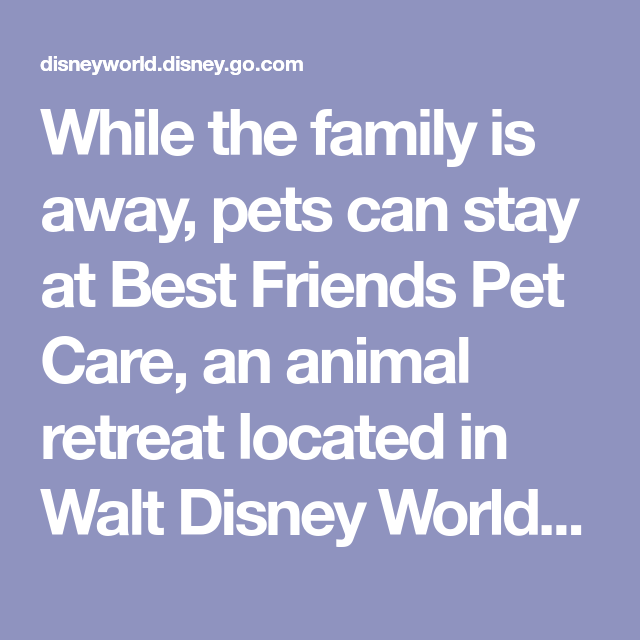 While The Family Is Away Pets Can Stay At Best Friends Pet Care