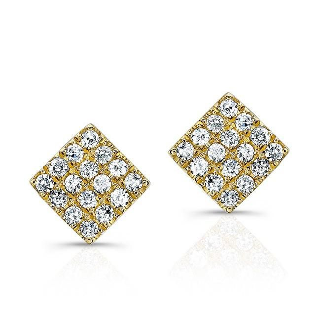 14KT Yellow Gold Diamond Mini Square Stud Earrings   Color 14KT Yellow Gold   Primary Stone Diamond   Approx. Carat Weight .10   Number of Stones 32   sku ASE7482-Y ------ About the designer:  Born in Paris, to Danish diplomat parents, designer Anne Sisteron began her love for timeless jewelry from an early age. Despite her natural talent and eye for distinction, her years working as a model for ELITE exposed her to the visions of designers around the world, further influencing her classic…