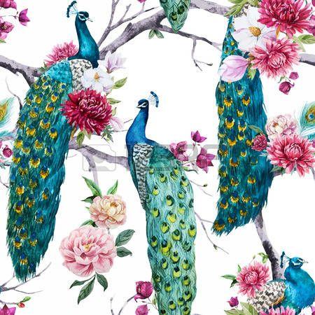Ethno Muster ethno muster: schöne muster mit schönen aquarell pfau und blumen