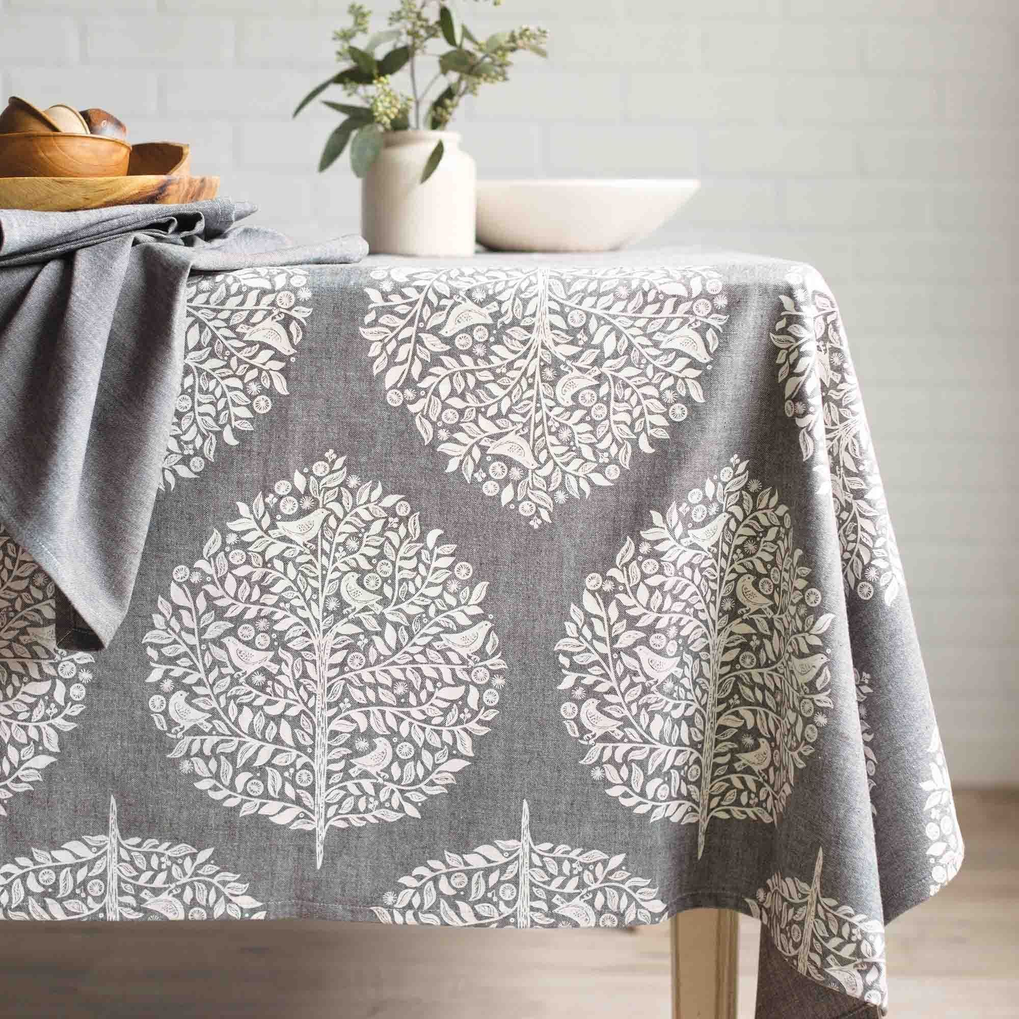 now designs elmwood grey cotton chambray weave tablecloth 60in x rh pinterest com