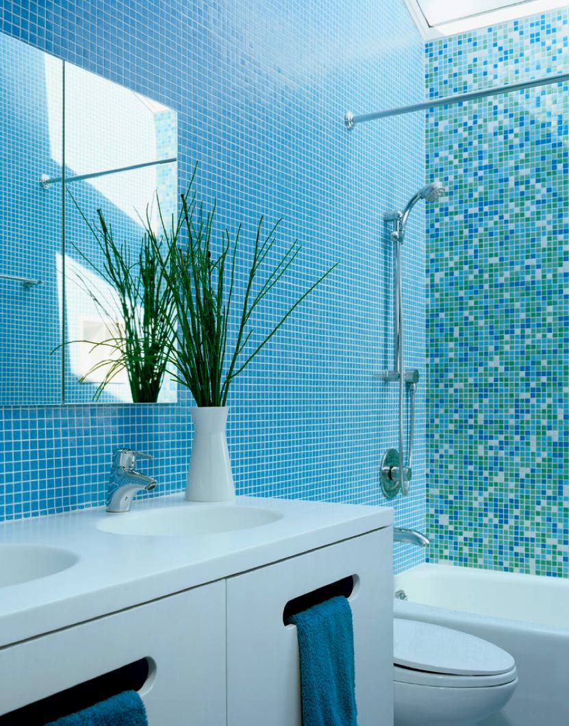 turquoise mosaic tiles bathroom | turquoise / aqua / azure blue