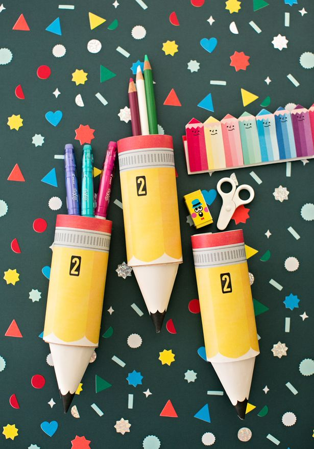 Paper Pencil Tube Craft With Free Printable Template Kids