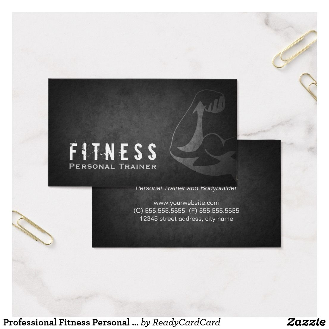 Professional Fitness Personal Trainer Muscle Business Card ...