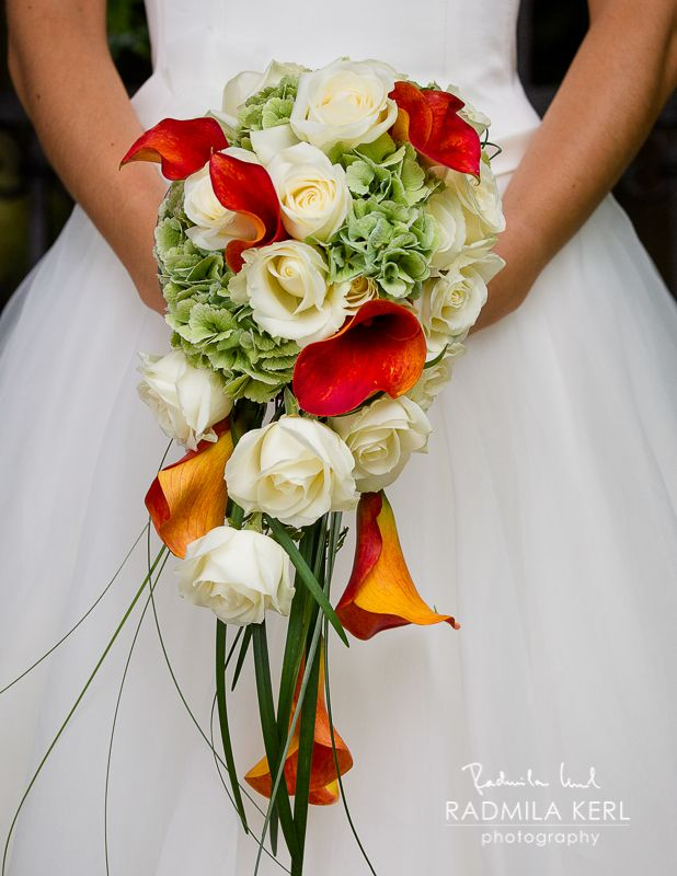 Summer Orange White Wedding Flower Bridal Bouquet Arrangement By