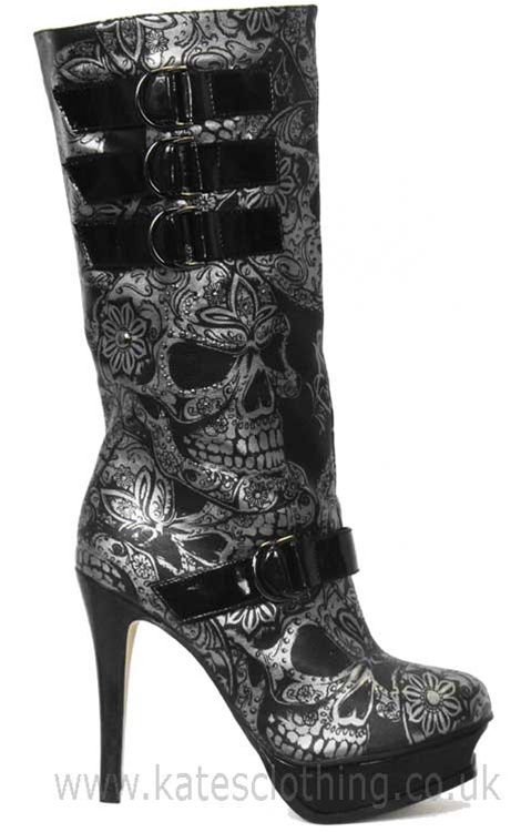 Love love love these boots.... Iron Fist Sweet Skull O Mine Boots from Kates Clothing