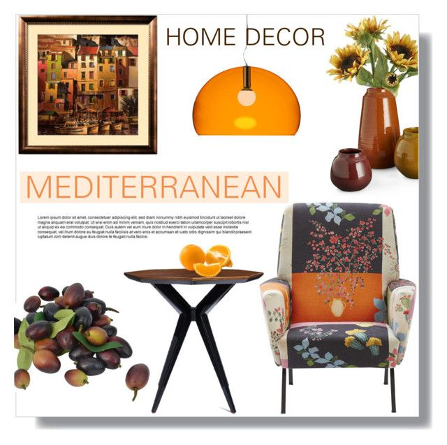 """Mediterranean"" by rosidew ❤ liked on Polyvore featuring interior, interiors, interior design, home, home decor, interior decorating, Kate Spade, Kartell and Home Decorators Collection"