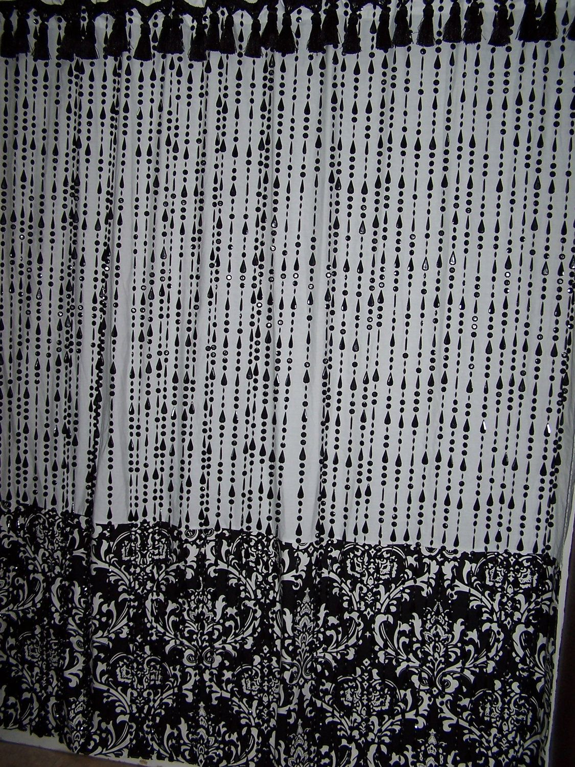 Shower Curtain Beads Tassel Damask Designer Fabric Black