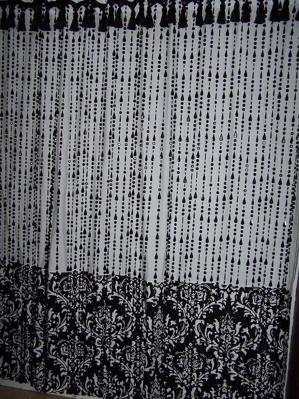 shower curtain beads tassel damask designer fabric black and white rh pinterest com