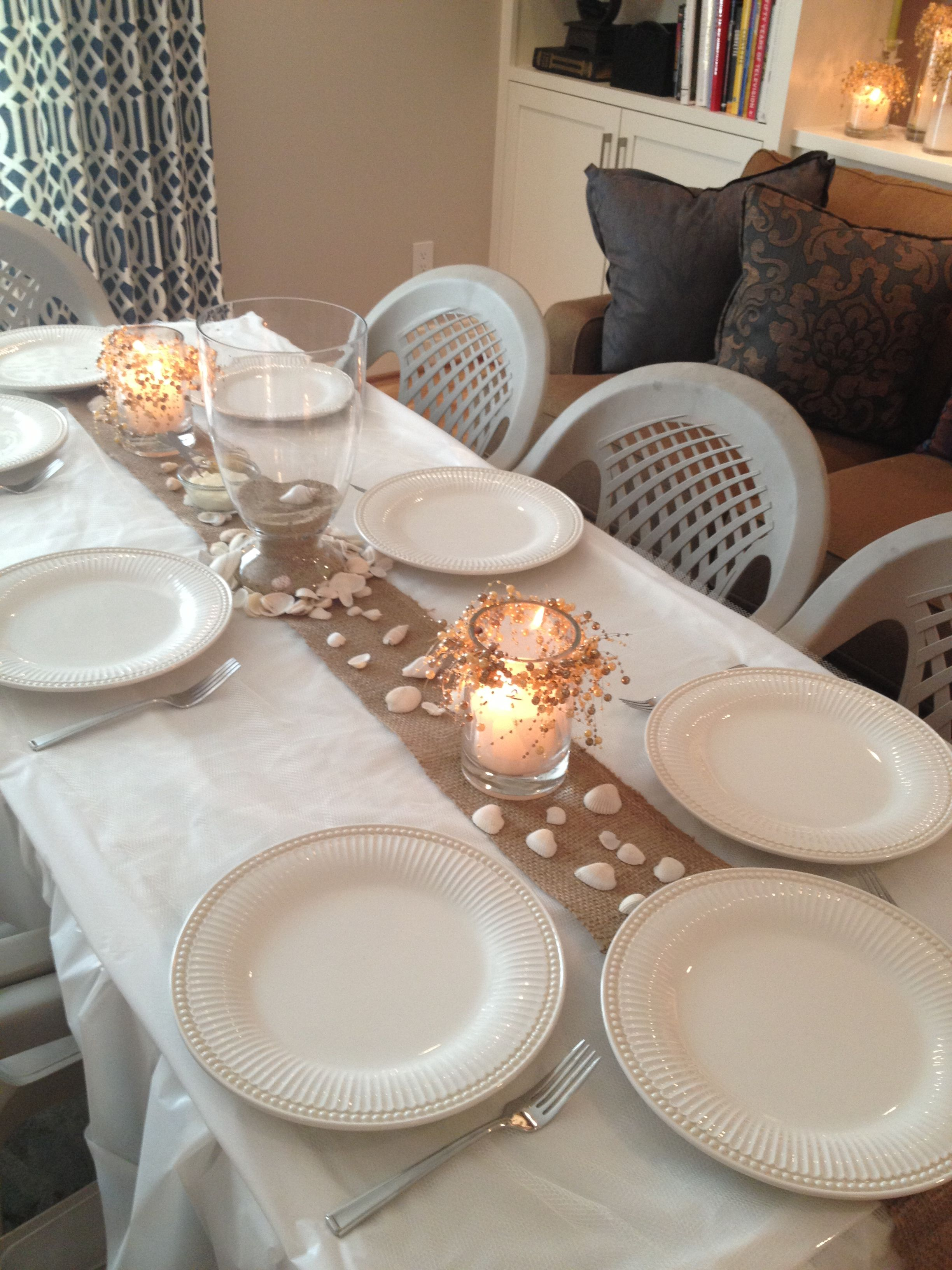 bridal shower themes for spring%0A Love the burlap table runner on all white table  Maybe white star fish decor