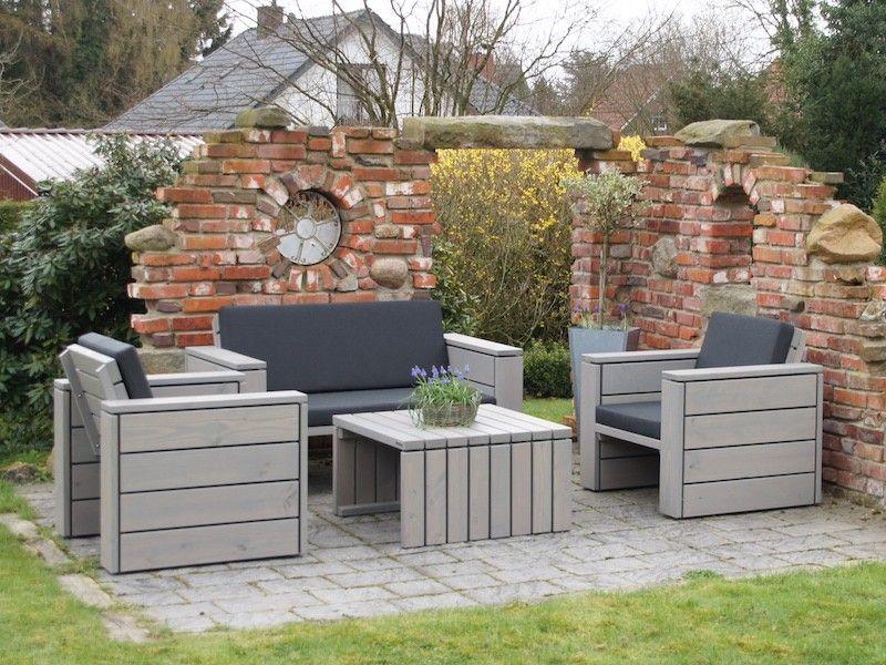 Loungemöbel Set 2 Holz Grau Geölt mit Polstern Loungemöbel - loungemobel garten grau
