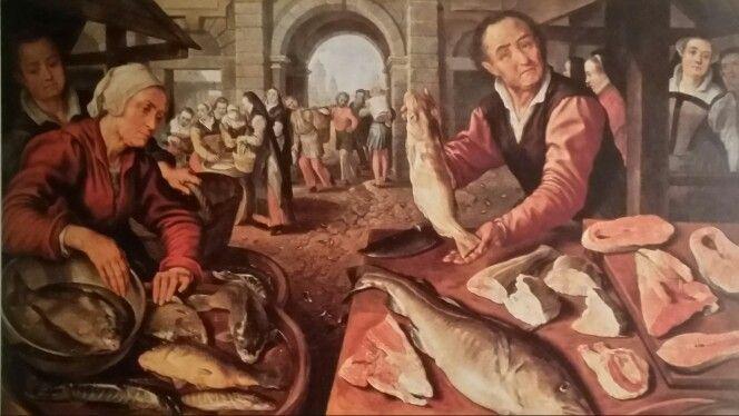 """JOACHIM BEUCKELAER  ( Anversa 1530 - 1675 ). MERCATO DEL PESCE. 1569.  olio su tela. 147 × 200 cm. Signed and dated """" J.B.1569 """" .Provenance : Collezione Farnese. Napoli. Museo e Gallerie Nazionali di Capodimonte. Inv. No. Q661."""